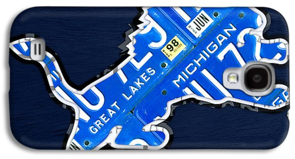 Road Travel Galaxy S4 Cases - Detroit Lions Football Team Retro Logo License Plate Art Galaxy S4 Case by Design Turnpike