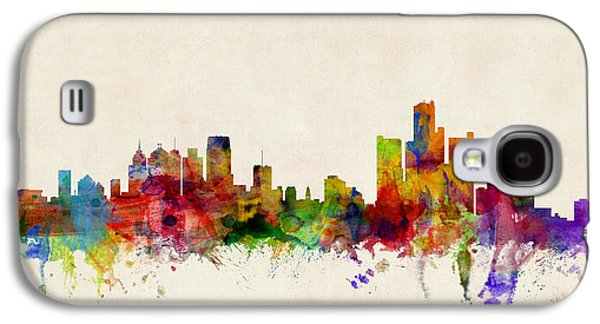 Cityscape Digital Galaxy S4 Cases - Detroit Michigan Skyline Galaxy S4 Case by Michael Tompsett