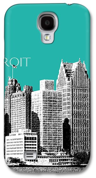 Pencil Digital Galaxy S4 Cases - Detroit Skyline 3 - Teal Galaxy S4 Case by DB Artist