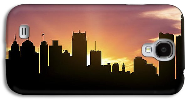 Detroit Digital Galaxy S4 Cases - Detroit Skyline Panorama Sunset Galaxy S4 Case by Aged Pixel