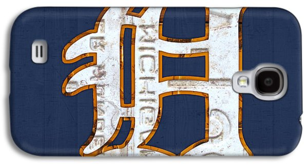 Old Galaxy S4 Cases - Detroit Tigers Baseball Old English D Logo License Plate Art Galaxy S4 Case by Design Turnpike