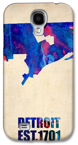 Decoration Galaxy S4 Cases - Detroit Watercolor Map Galaxy S4 Case by Naxart Studio