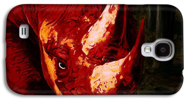 Rhinoceros Paintings Galaxy S4 Cases - Devil By My Side Galaxy S4 Case by Sarah Soward