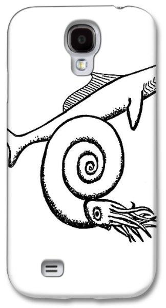 Devonian Shark And Ammonoid Galaxy S4 Case by Richard Bizley
