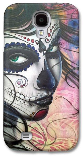 Make-up Galaxy S4 Cases - Dia De Los Muertos Chica Galaxy S4 Case by Mike Royal