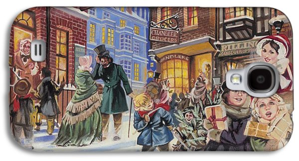 Festivities Galaxy S4 Cases - Dickensian Christmas Scene Galaxy S4 Case by Angus McBride