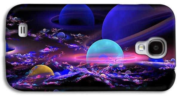 Abstract Digital Art Galaxy S4 Cases - Digital Abstract Fractal Art Planet Spheres Galaxy S4 Case by Keith Webber Jr