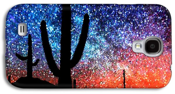 Abstract Digital Art Galaxy S4 Cases - Digital Art Abstract - Desert Cacti and the Starry Night Sky Galaxy S4 Case by Natalie Kinnear