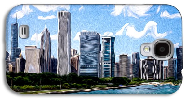 Stone Buildings Galaxy S4 Cases - Digitial Painting of Downtown Chicago Skyline Galaxy S4 Case by Paul Velgos