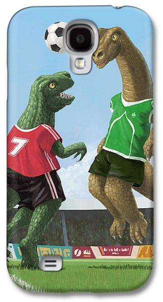 Kids Sports Art Galaxy S4 Cases - Dinosaur Football Sport Game Galaxy S4 Case by Martin Davey