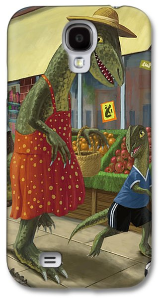 Kids Sports Art Galaxy S4 Cases - Dinosaur Mum Out Shopping With Son Galaxy S4 Case by Martin Davey