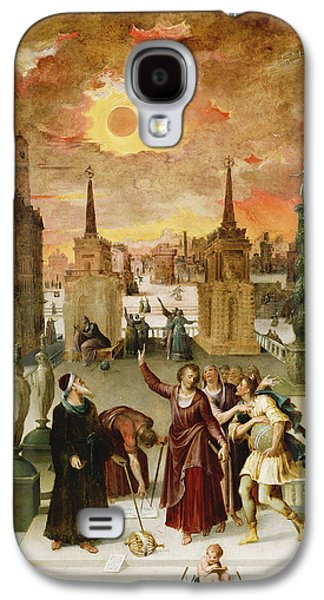 Cosmological Galaxy S4 Cases - Dionysius The Areopagite Converting The Pagan Philosophers, 1570s Oil On Panel Galaxy S4 Case by Antoine Caron