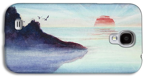 Sun Rays Paintings Galaxy S4 Cases - Distant Shoreline Sunrise Watercolor Painting Galaxy S4 Case by Michelle Wiarda