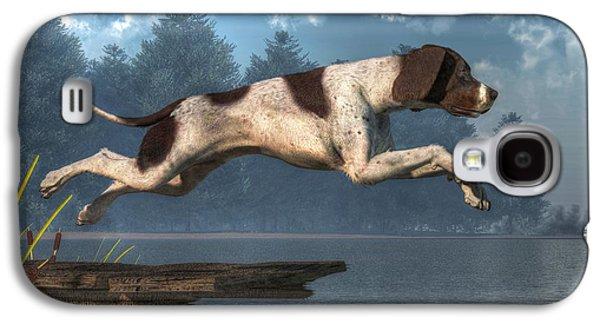 Dog Running. Galaxy S4 Cases - Diving Dog Galaxy S4 Case by Daniel Eskridge