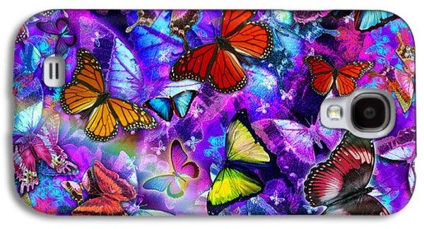 Alixandra Mullins Galaxy S4 Cases - Dizzy Colored Butterfly Explosion Galaxy S4 Case by Alixandra Mullins