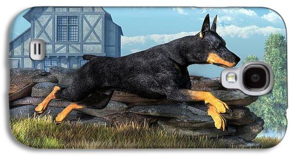 Dog Running. Galaxy S4 Cases - Doberman Galaxy S4 Case by Daniel Eskridge