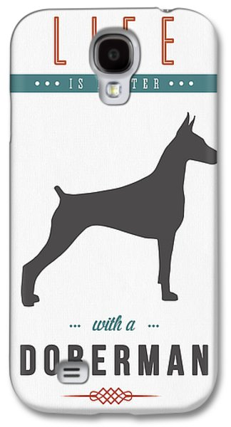 Puppies Mixed Media Galaxy S4 Cases - Doberman Pinscher 01 Galaxy S4 Case by Aged Pixel
