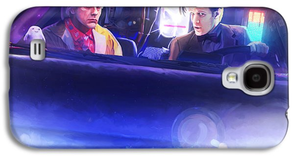 Tardis Galaxy S4 Cases - Doc Doctor and the Delorian Galaxy S4 Case by Brett Hardin