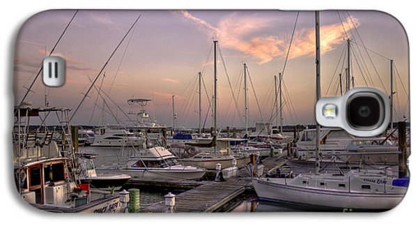 Sailboats In Harbor Galaxy S4 Cases - Dockside Sunset in Beaufort South Carolina Galaxy S4 Case by Reid Callaway