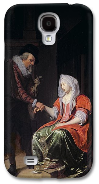 Medicine Photographs Galaxy S4 Cases - Doctor Taking A Young Womans Pulse Galaxy S4 Case by Michiel van Musscher