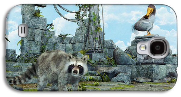 Raccoon Digital Art Galaxy S4 Cases - Dodo Meets Raccoon Galaxy S4 Case by Jutta Maria Pusl