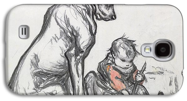 Playing Drawings Galaxy S4 Cases - Dog and Child Galaxy S4 Case by Robert Noir