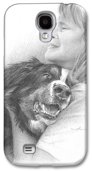 Owner Drawings Galaxy S4 Cases - Dog And Owner Pencil Portrait Galaxy S4 Case by Mike Theuer