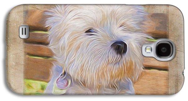 Puppies Digital Galaxy S4 Cases - Dog Art - Just One Look Galaxy S4 Case by Jordan Blackstone