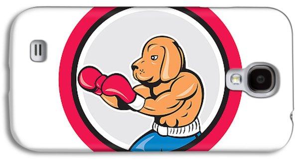 Jab Digital Galaxy S4 Cases - Dog Boxer Boxing Circle Cartoon Galaxy S4 Case by Aloysius Patrimonio