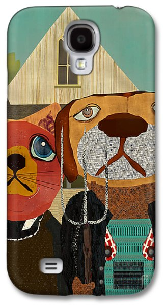 Dogs Digital Galaxy S4 Cases - Dog Cat Gothic  Galaxy S4 Case by Bri Buckley