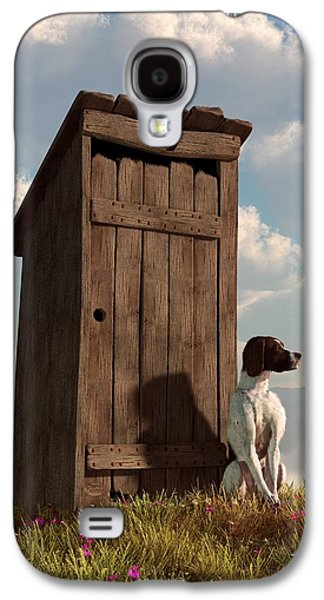 Guard Dog Galaxy S4 Cases - Dog Guarding An Outhouse Galaxy S4 Case by Daniel Eskridge
