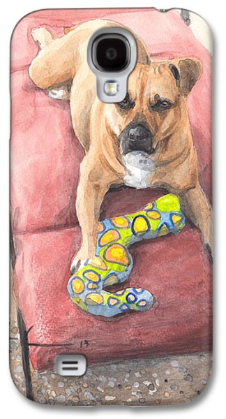 Lounge Drawings Galaxy S4 Cases - Dog On A Lounge Chair Watercolor Portrait Galaxy S4 Case by Mike Theuer