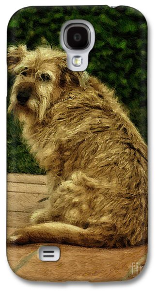 Dogs Digital Art Galaxy S4 Cases - Dog on a Terrace - digital oil Galaxy S4 Case by Mary Machare