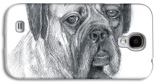 Boxer Drawings Galaxy S4 Cases - Boxer Dog Galaxy S4 Case by Rose Wang