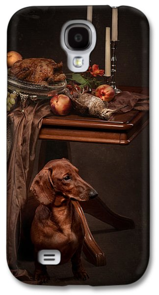 Interior Still Life Pyrography Galaxy S4 Cases - Dog under the table Galaxy S4 Case by Tanya Kozlovsky