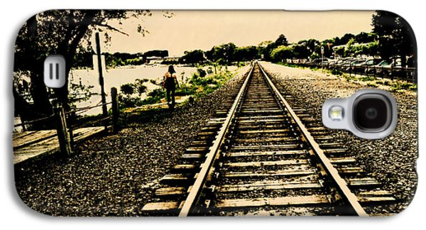 Dog Walking Digital Galaxy S4 Cases - Dog Walk along the Wayzata Train Tracks Galaxy S4 Case by Susan Stone