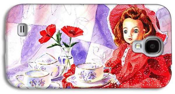 Tea Party Paintings Galaxy S4 Cases - Doll At The Tea Party  Galaxy S4 Case by Irina Sztukowski