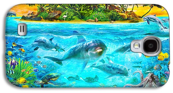 Dolphin Digital Galaxy S4 Cases - Dolphin Paradise Island Galaxy S4 Case by Jan Patrik Krasny