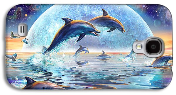Dolphins By Moonlight Galaxy S4 Case by Adrian Chesterman