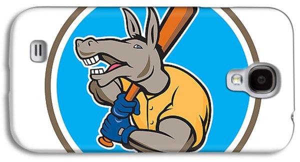 Donkey Digital Art Galaxy S4 Cases - Donkey Baseball Player Batting Circle Cartoon Galaxy S4 Case by Aloysius Patrimonio
