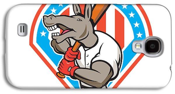 Donkey Digital Art Galaxy S4 Cases - Donkey Baseball Player Batting Diamond Cartoon Galaxy S4 Case by Aloysius Patrimonio