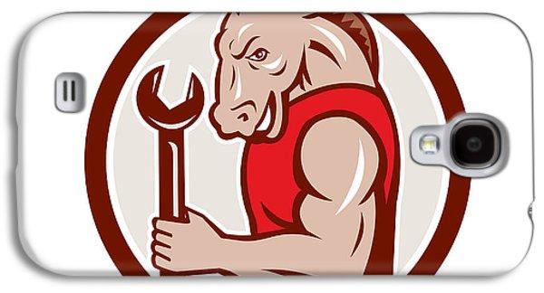 Donkey Digital Art Galaxy S4 Cases - Donkey Mechanic Spanner Mascot Circle Retro Galaxy S4 Case by Aloysius Patrimonio
