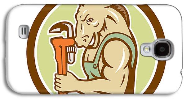Donkey Digital Art Galaxy S4 Cases - Donkey Plumber Monkey Wrench Circle Retro Galaxy S4 Case by Aloysius Patrimonio