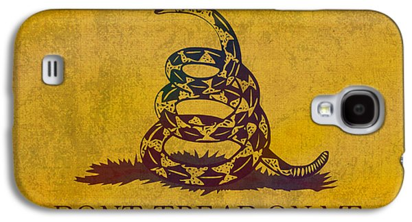 Libertarian Party Galaxy S4 Cases - Dont Tread on Me Gadsden Flag Patriotic Emblem on Worn Distressed Yellowed Parchment Galaxy S4 Case by Design Turnpike