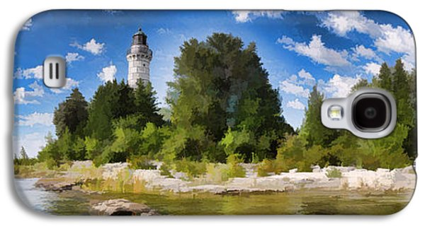 Chicago Paintings Galaxy S4 Cases - Door County Cana Island Lighthouse Panorama Galaxy S4 Case by Christopher Arndt