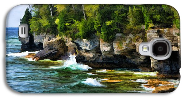 Chicago Paintings Galaxy S4 Cases - Door County Cave Point Cliffs Galaxy S4 Case by Christopher Arndt
