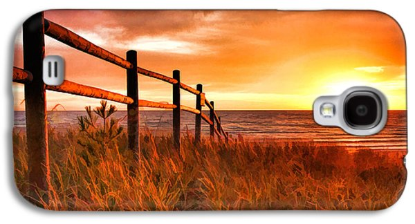 Fence Paintings Galaxy S4 Cases - Door County Europe Bay Fence Sunrise Galaxy S4 Case by Christopher Arndt