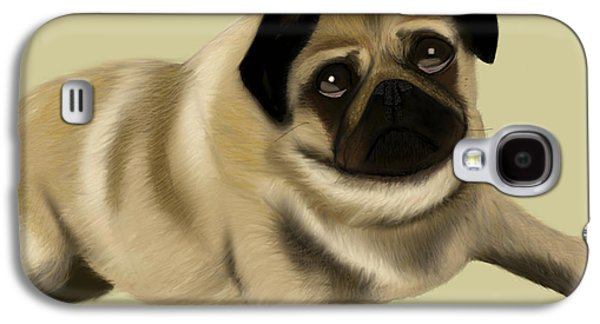 Puppies Digital Galaxy S4 Cases - Doug the Pug Galaxy S4 Case by Beverley Brown