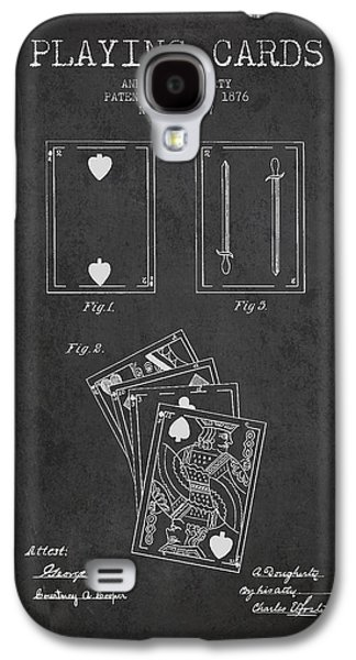 Card Digital Art Galaxy S4 Cases - Dougherty Playing Cards Patent Drawing From 1876 - Dark Galaxy S4 Case by Aged Pixel