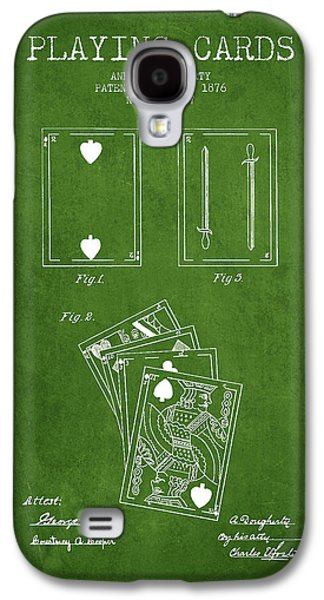 Card Digital Art Galaxy S4 Cases - Dougherty Playing Cards Patent Drawing From 1876 - Green Galaxy S4 Case by Aged Pixel